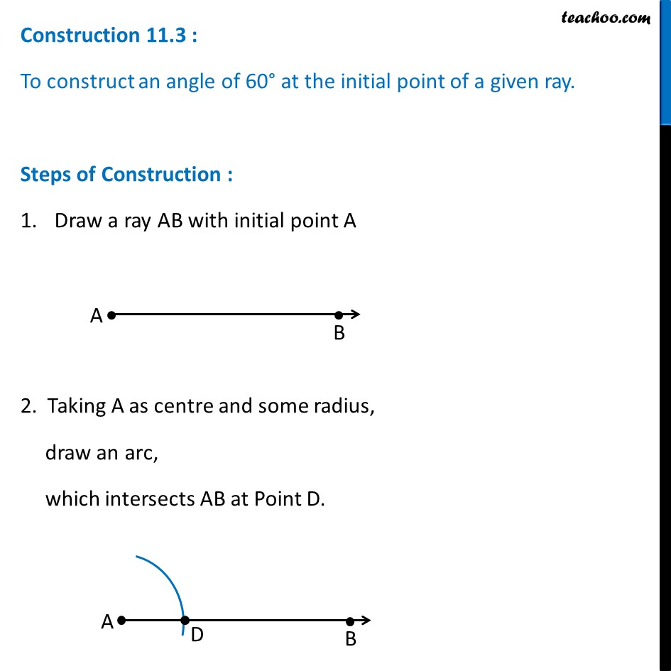 Construction 11.3 - Construct angle 60 degree - Chapter 11 Class 9