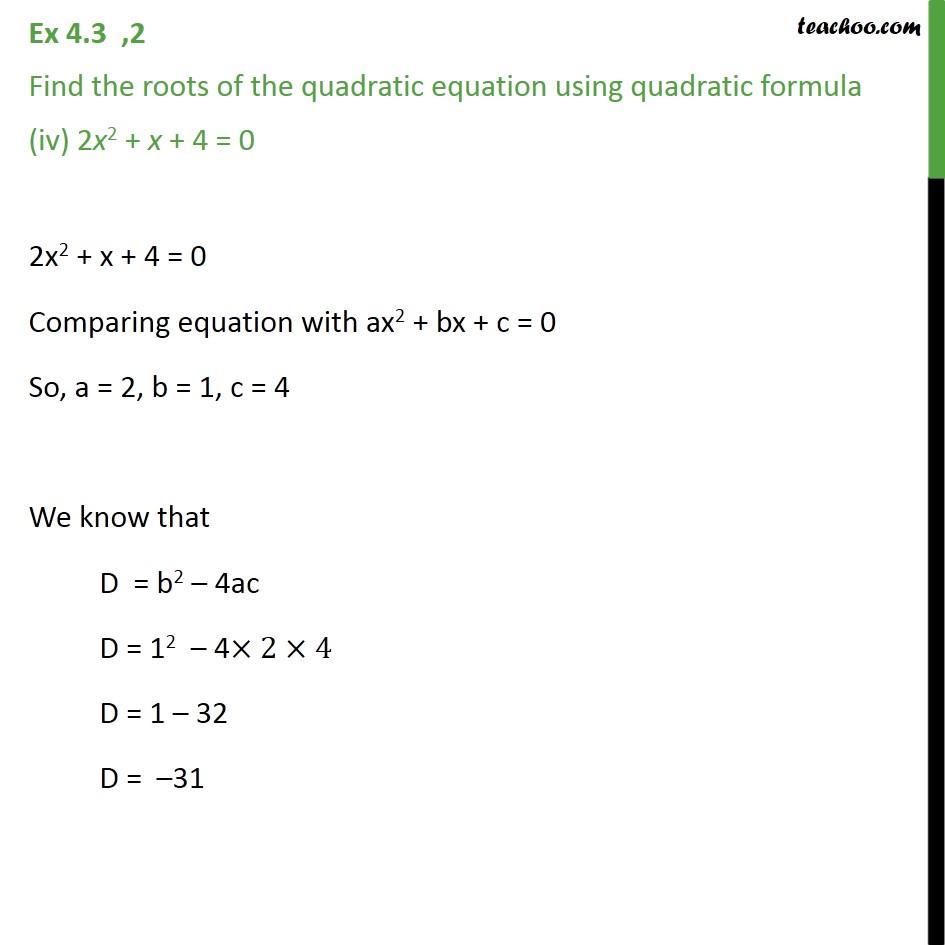 Ex 4.3, 2 - Chapter 4 Class 10 Quadratic Equations - Part 7