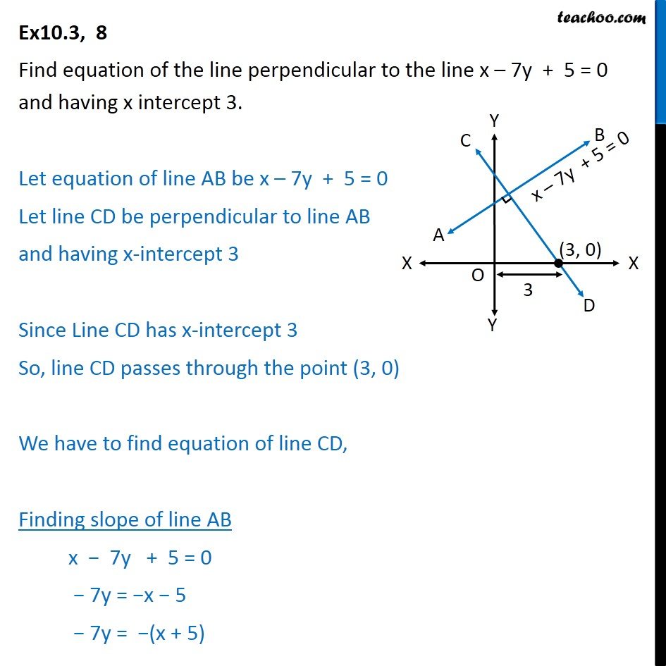 Ex 10.3, 8 - Find equation of line perpendicular to x - 7y + 5 = 0 - Two lines // or/and prependicular