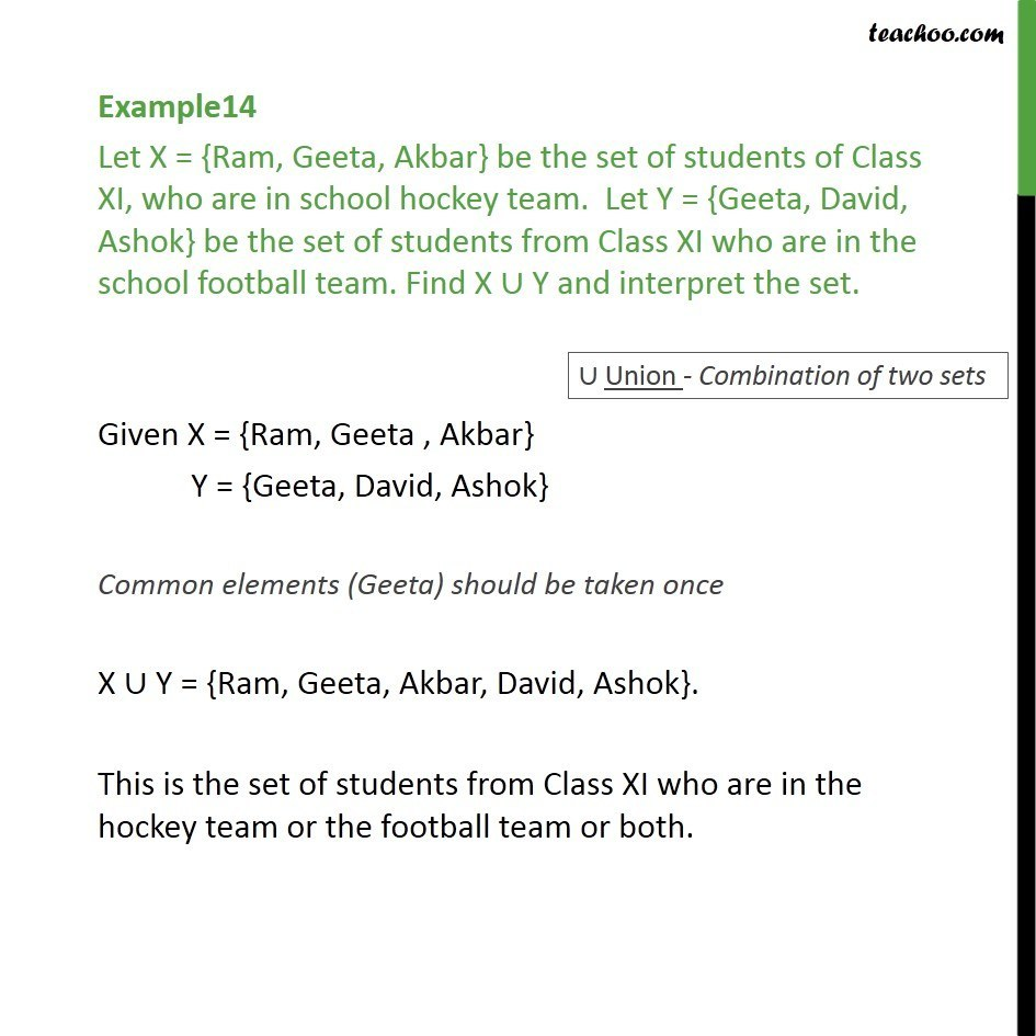 Example 14 - Let X = {Ram, Geeta, Akbar} be set of students - Examples