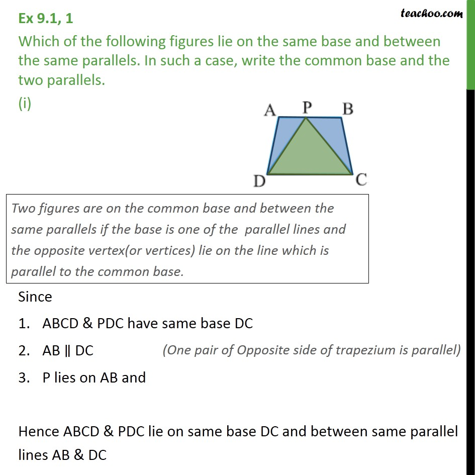 Ex 9.1, 1 - Which of following figures lie on same base - Introduction
