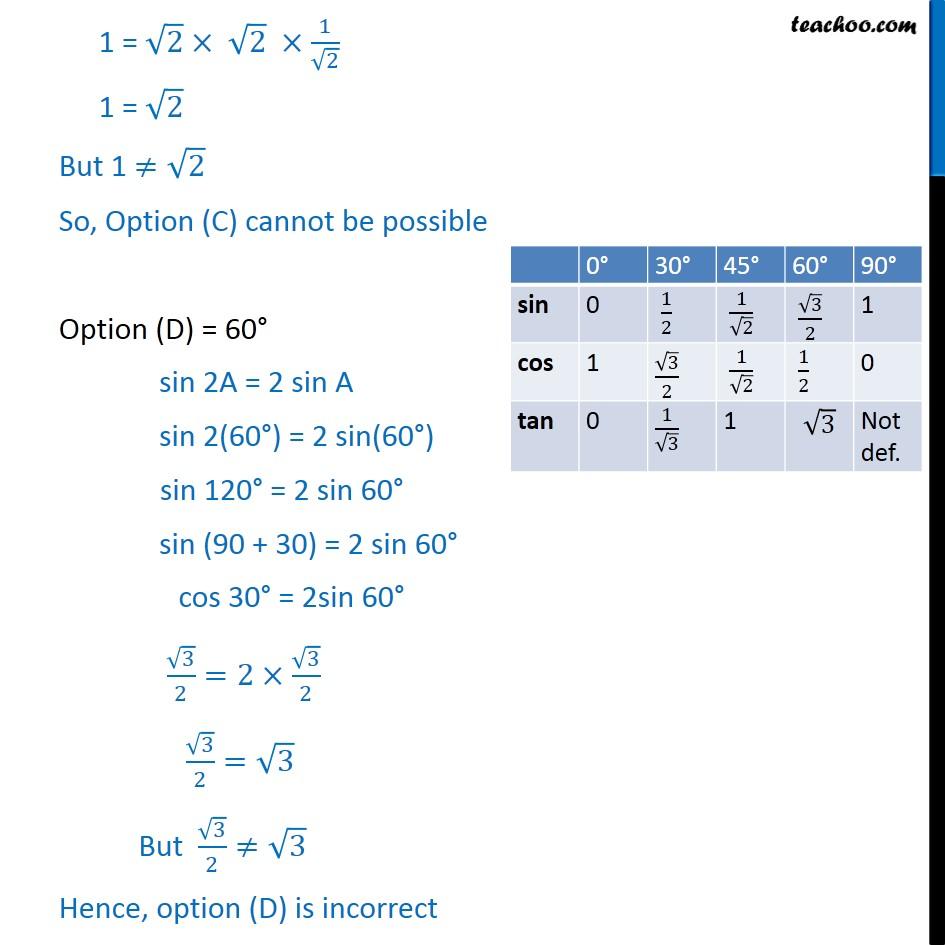 Solving Ex 8.2, 2 (iii) Class 10 - Checking option C = 45 . sin 2A = 2 sin A, sin 2(45) = 2 sin 45, sin 90 = 2 sin 45