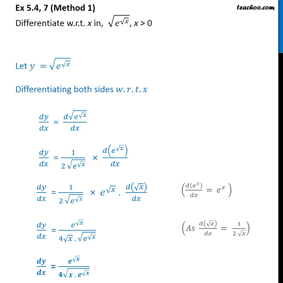 Ex 5.4, 7 - Differentiate root e root x - Chapter 5 NCERT - Ex 5.4