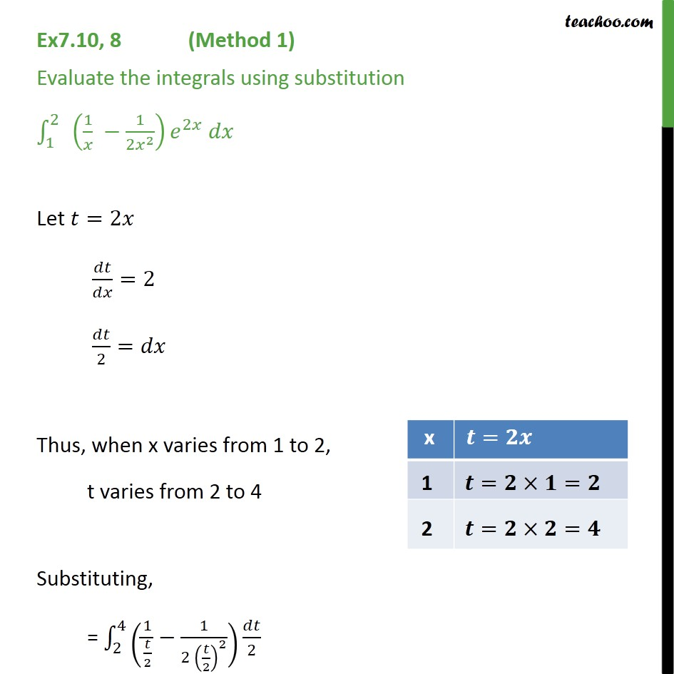 Ex 7.10, 8 - Evaluate integral (1/x - 1/ 2x2) e2x dx - Definate Integration - By Formulae