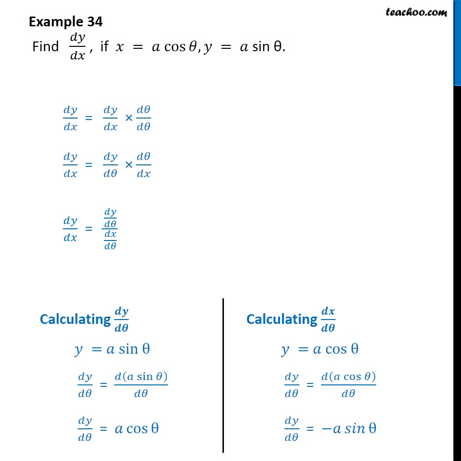 Example 34 - Find dy/dx, if x = a cos theta, y = a sin - Examples