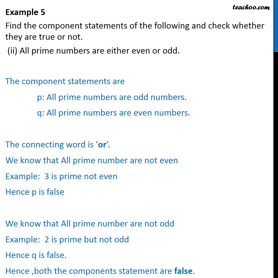 Example 5  - Chapter 14 Class 11 Mathematical Reasoning - Part 2