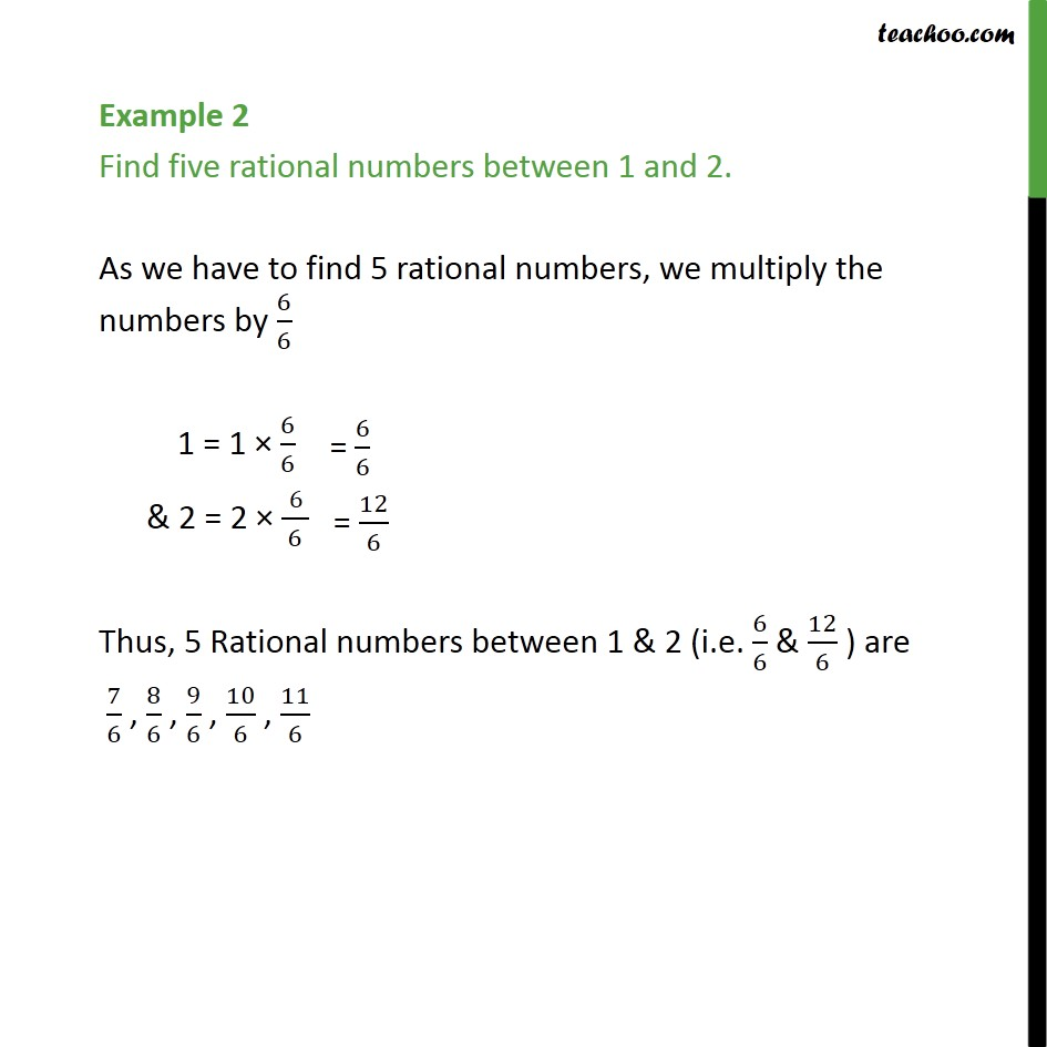 Example 2 - Find five rational numbers between 1 and 2 - Finding rational number between two numbers