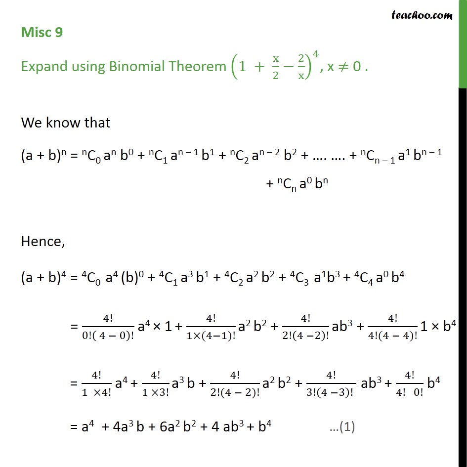 Misc 9 - Expand using Binomial Theorem (1 + x/2 - 2/x)4 - Miscellaneous