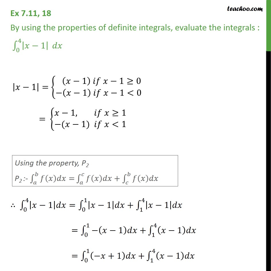 Ex 7.11, 18 - Evaluate definite integral |x - 1| dx - Ex 7.11