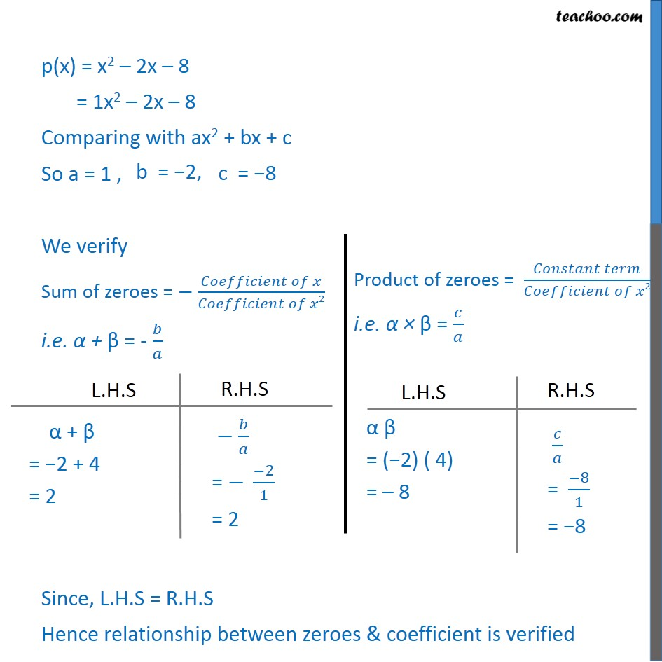 Find Zeroes And Verify Relationship Of Quadratic X 2 2x 8