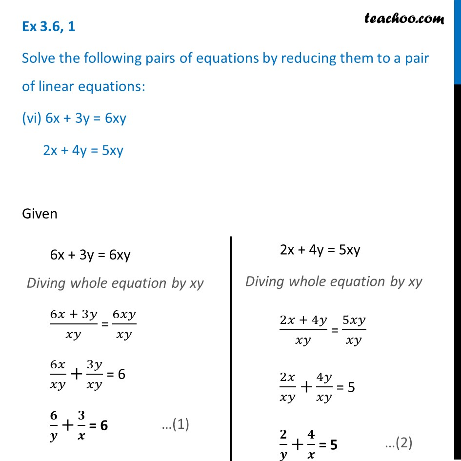 Ex 3.6, 1 (v) and (vi) - Chapter 3 Class 10 Pair of Linear Equations in Two Variables - Part 6