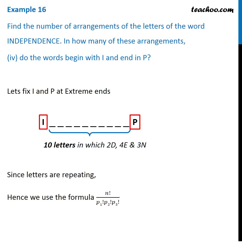 Example 16 Find Number Of Arrangements Of Independence