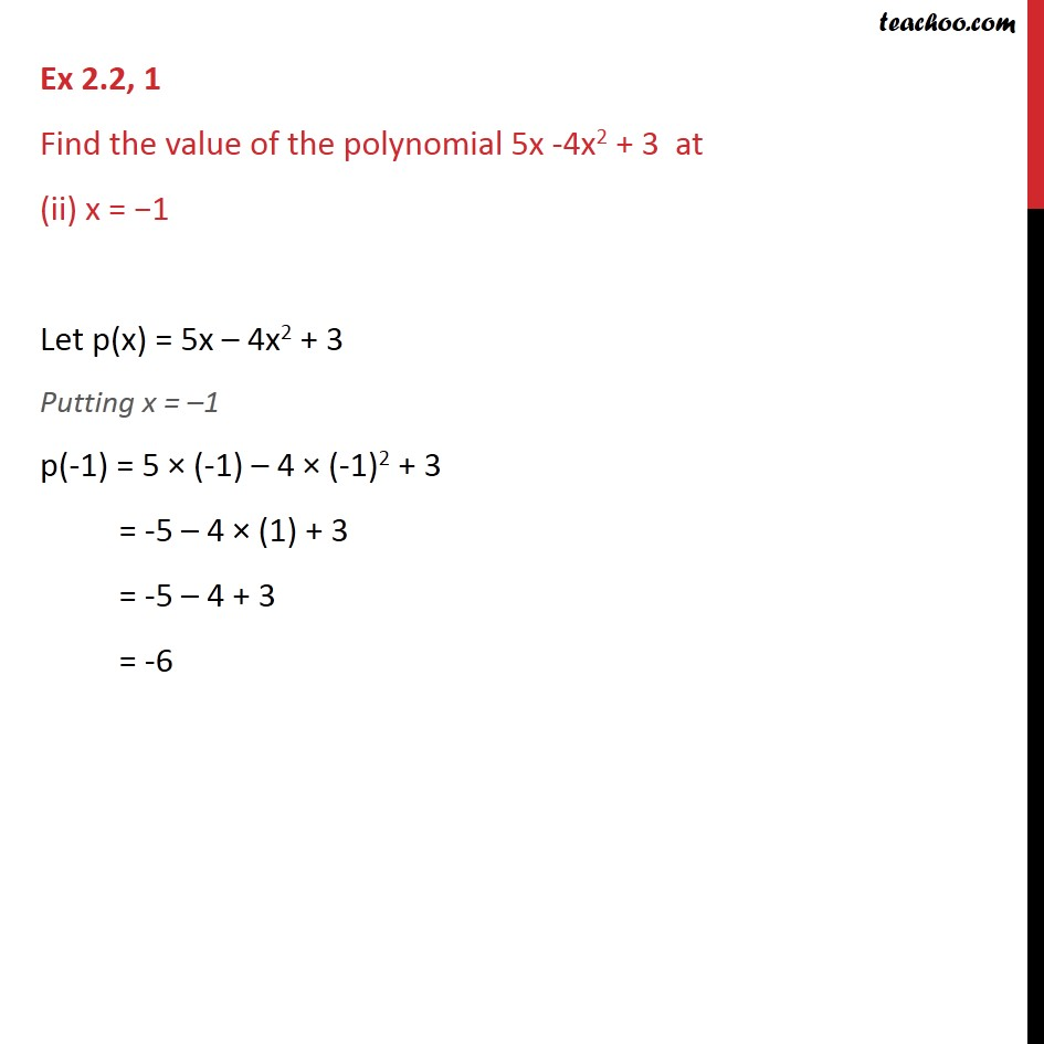 Ex 2.2,1 - Chapter 2 Class 9 Polynomials - Part 2