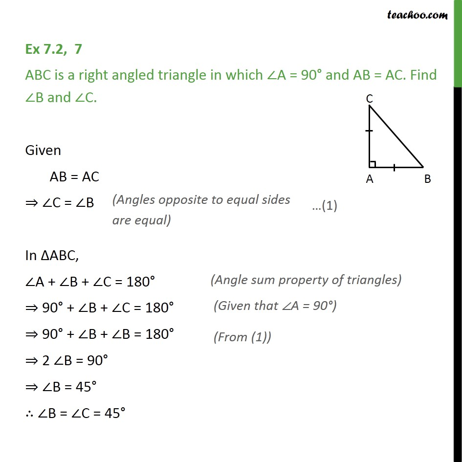 Ex 7.2, 7 - ABC is a right angled triangle in which A = 90  - Ex 7.2