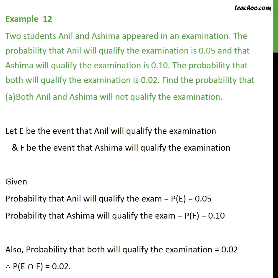 Example 12 - Two students Anil, Ashima appeared in an exam - Examples