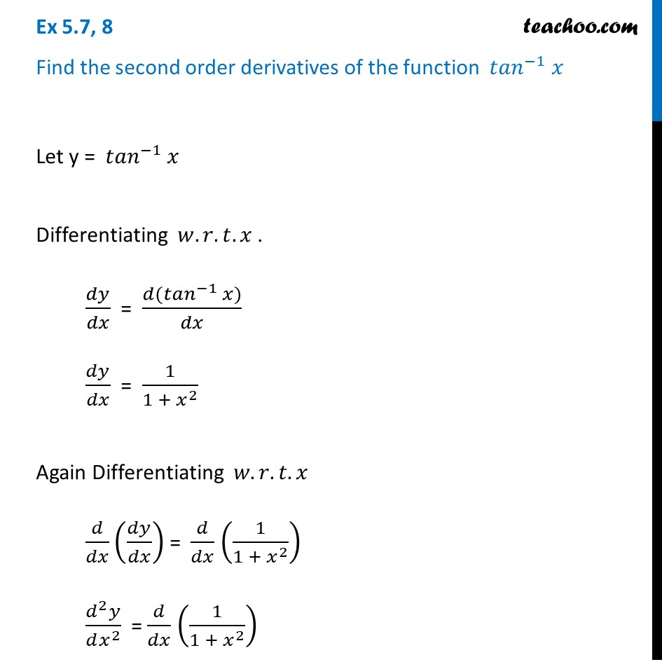 Ex 5.7, 8 - Find second order derivatives of tan-1 x - Ex 5.7