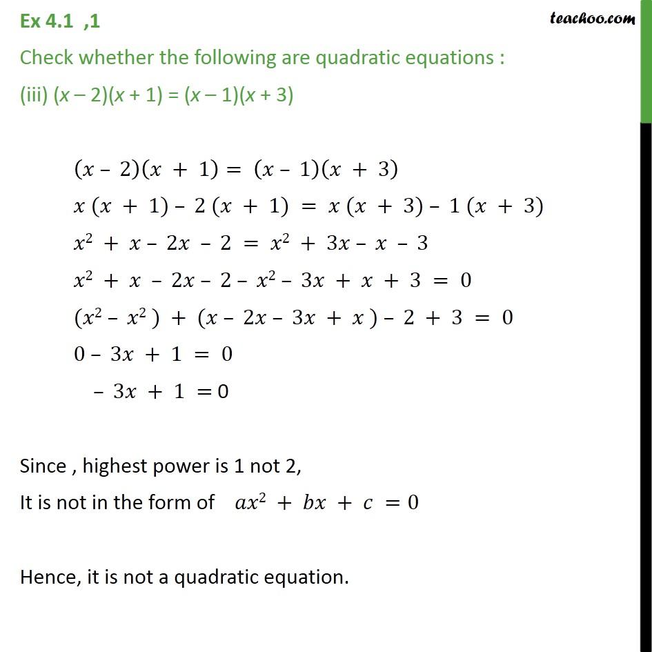 Ex 4.1, 1 - Chapter 4 Class 10 Quadratic Equations - Part 3