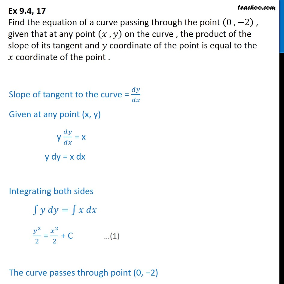 Ex 9.4, 17 - Find equation: (0, -2), product of slope - Variable separation - Statement given