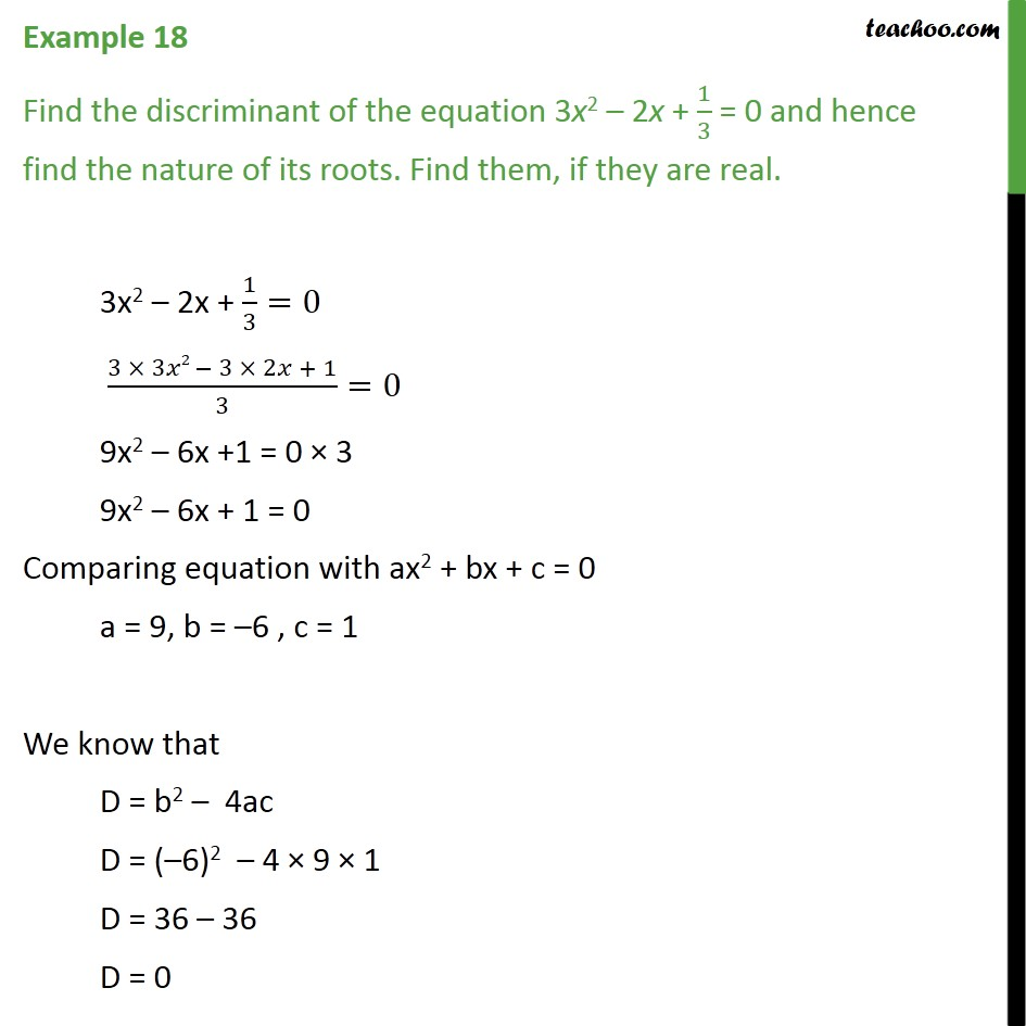 Example 18 - Find discriminant of 3x2 - 2x + 1/3 = 0 and - Nature of roots
