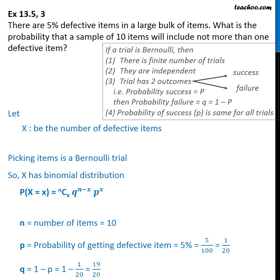 Ex 13.5, 3 - There are 5% defective items in a large bulk - Ex 13.5