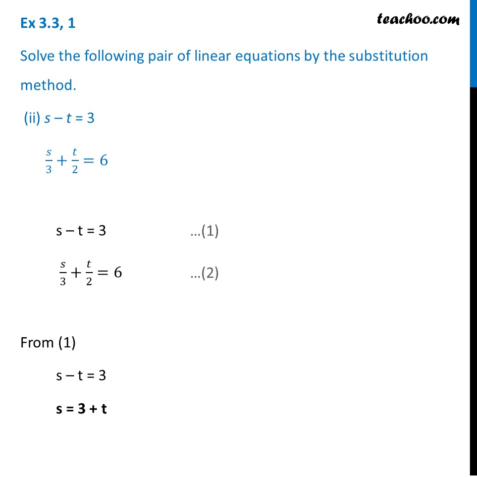 Ex 3.3, 1 - Chapter 3 Class 10 Pair of Linear Equations in Two Variables - Part 4