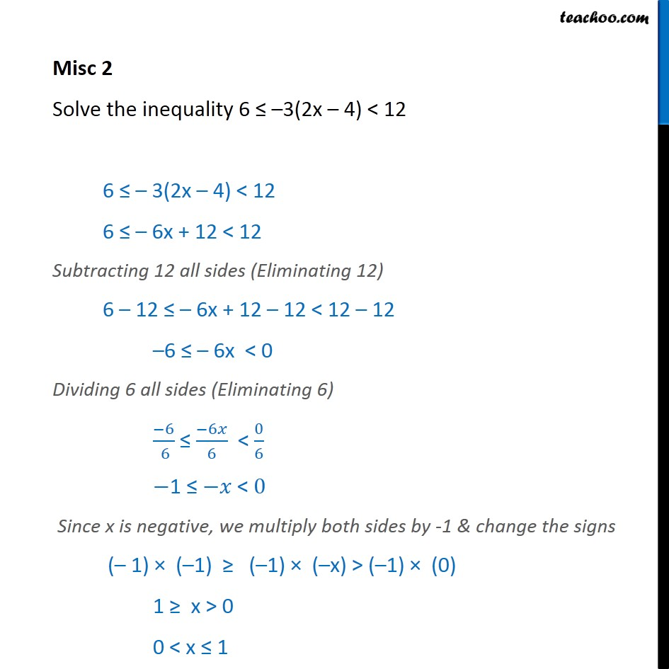 Misc 2 - Solve 6 <= -3(2x - 4) < 12 - Chapter 6 CBSE - Solving inequality  (both  sides)