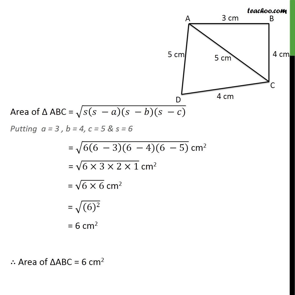 Ex 12.2, 2 - Chapter 12 Class 9 Herons Formula - Part 2