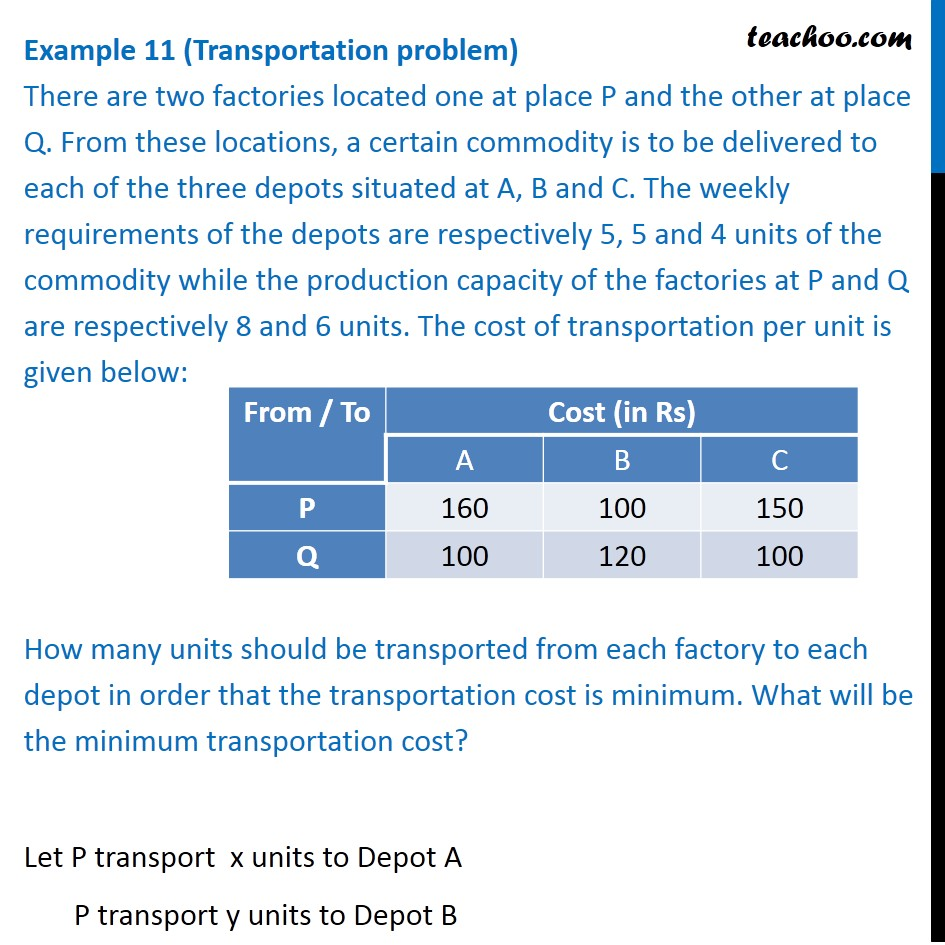Example 11- (Transportation problem) There are two factories