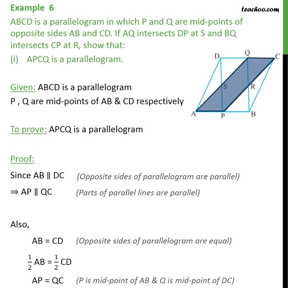 Example 6 - ABCD is a parallelogram in which P and Q - Examples