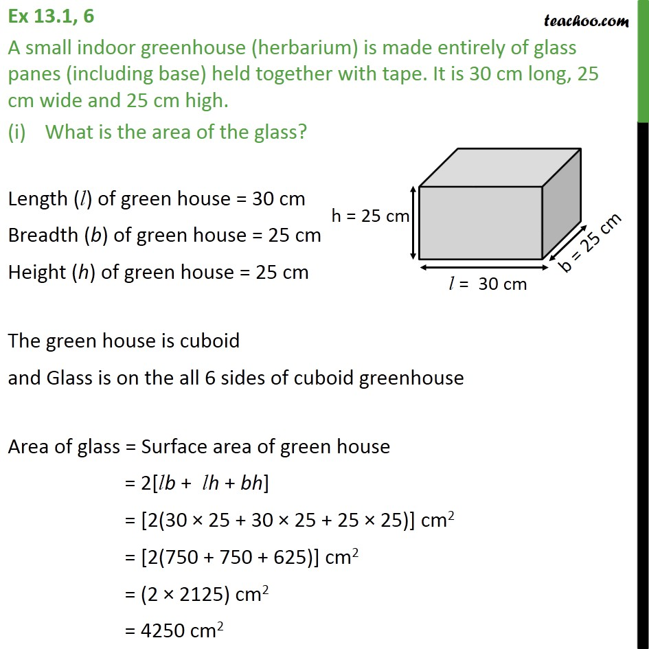 Ex 13.1, 6 - A small indoor greenhouse (herbarium) is made - Area Of Cube/ Cuboid