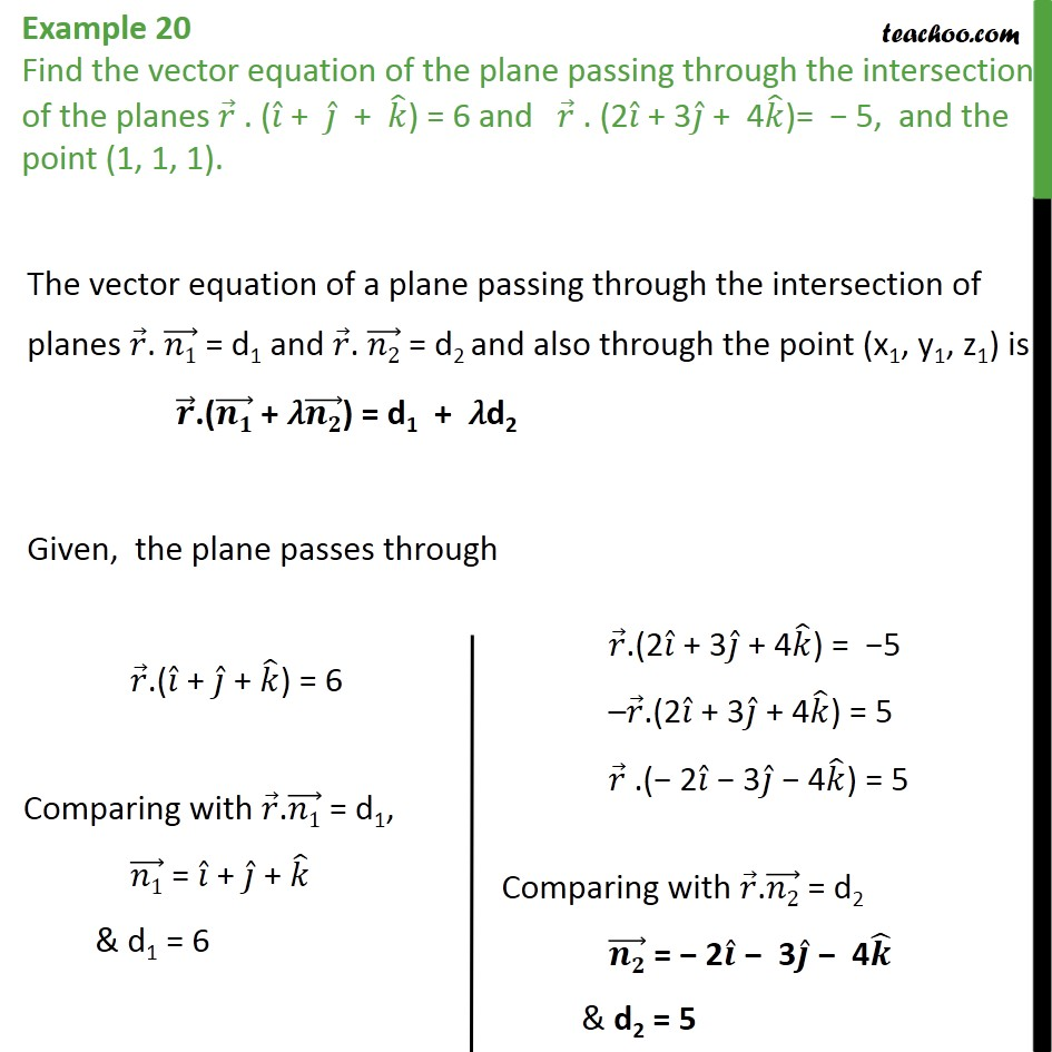 Example 20 - Equation of plane passing through intersection - Examples