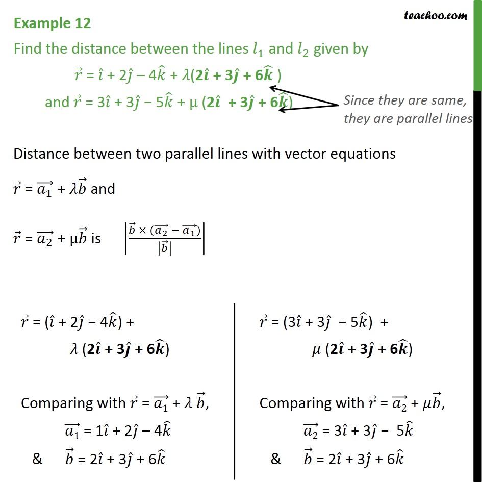 Example 12 - Class 12 Chapter 11 - Find distance between lines - Shortest distance between two parallel lines
