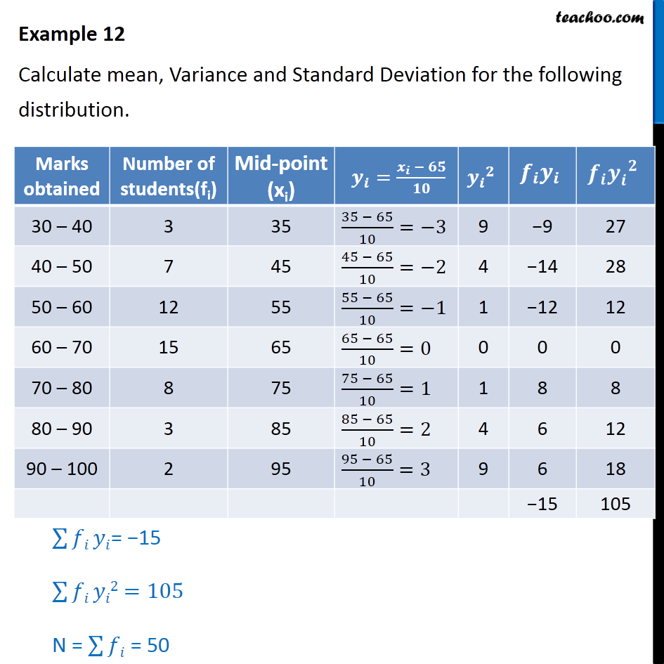 Example 12 - Calculate mean, variance, standard deviation - Standard deviation and variance - Continuous frequency (grouped data)