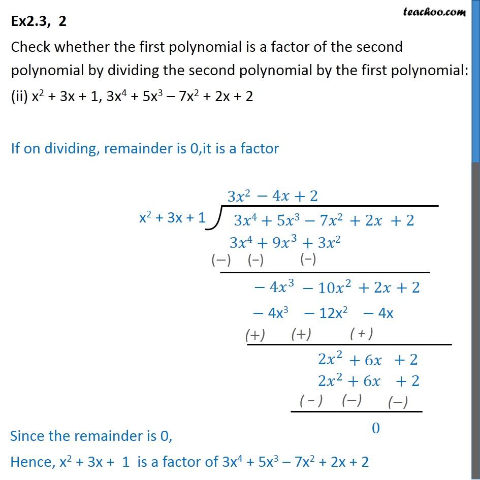 Ex 2.3, 2 - Chapter 2 Class 10 Polynomials - Part 2