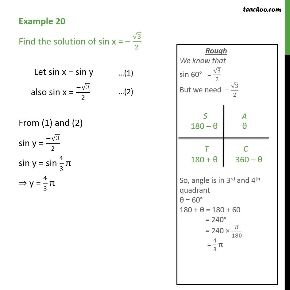 Example 20 - Find solution of sin x = - root 3/2 - Class 11 - Examples