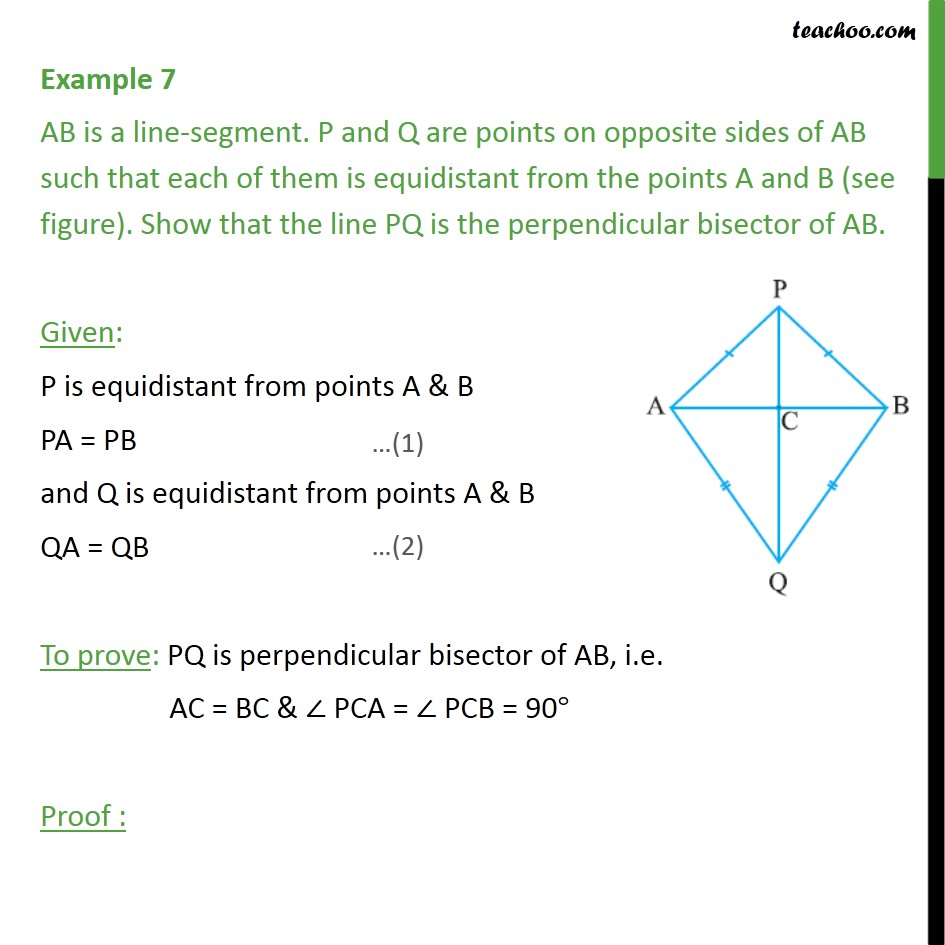 Example 7 - Show that the line PQ is the perpendicular - Examples