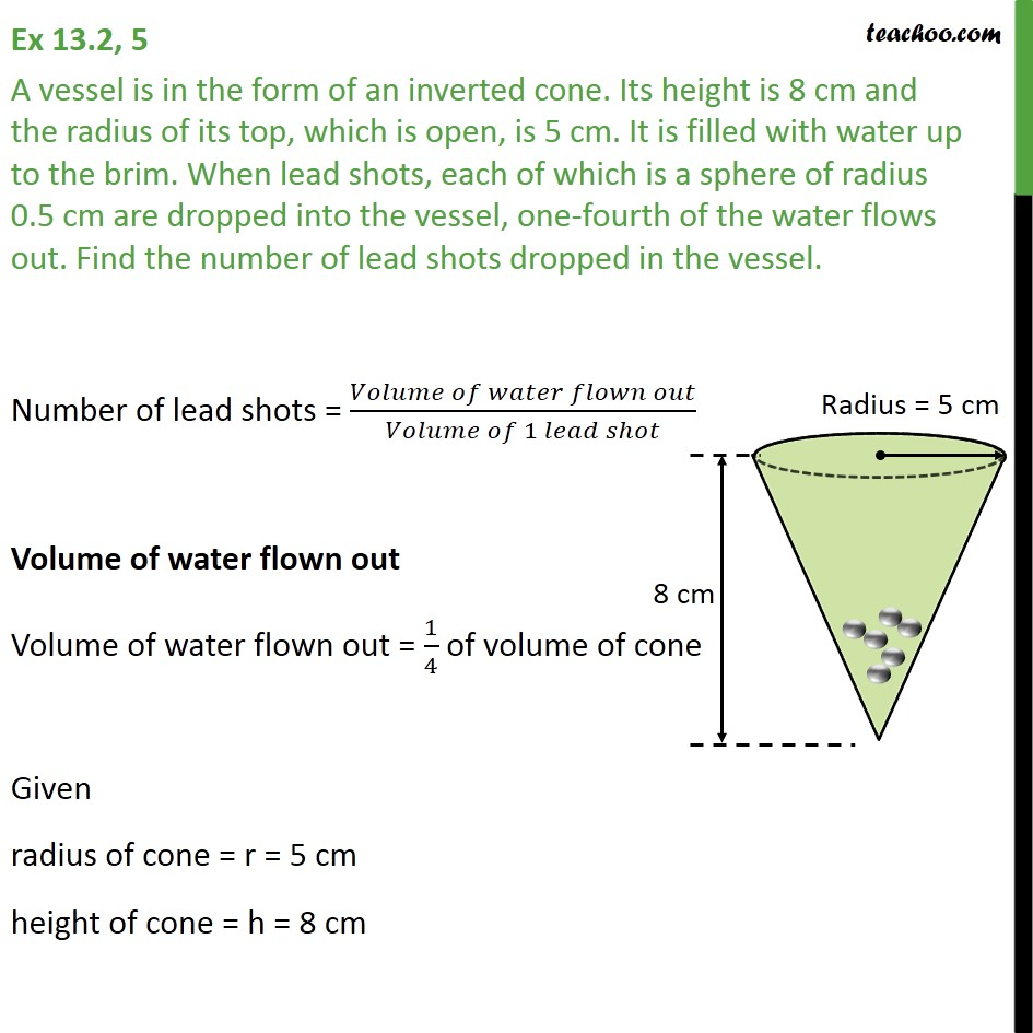 Ex 13.2, 5 - A vessel is in form of an inverted cone - Ex 13.2