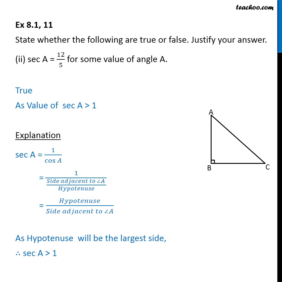 Ex 8.1, 11 - Chapter 8 Class 10 Introduction to Trignometry - Part 3