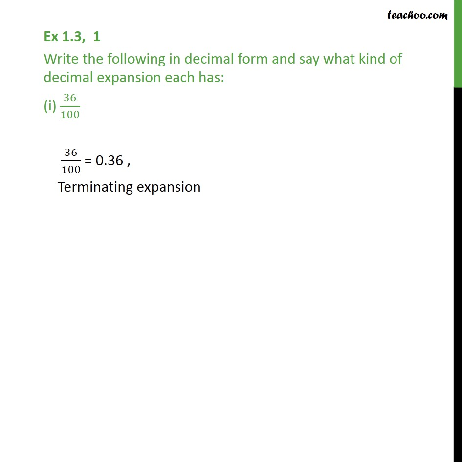 Ex 1.3,1 - Write the following in decimal form and say - Finding decimal expansion