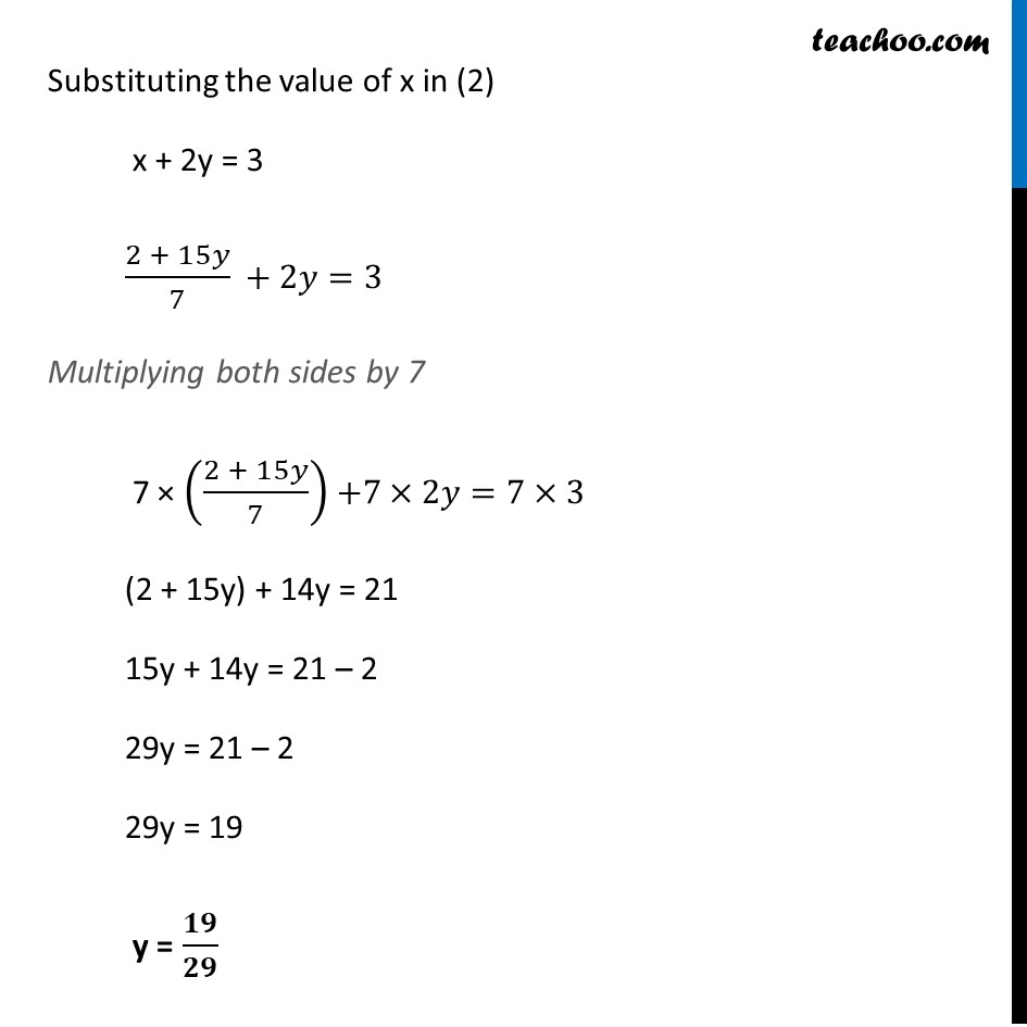 Example 7 - Chapter 3 Class 10 Pair of Linear Equations in Two Variables - Part 2