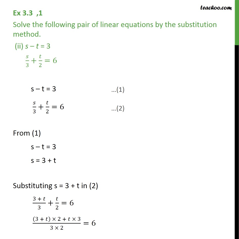 Ex 3 3 1 Solve By Substitution Method I X Y 14 Ex 3 3
