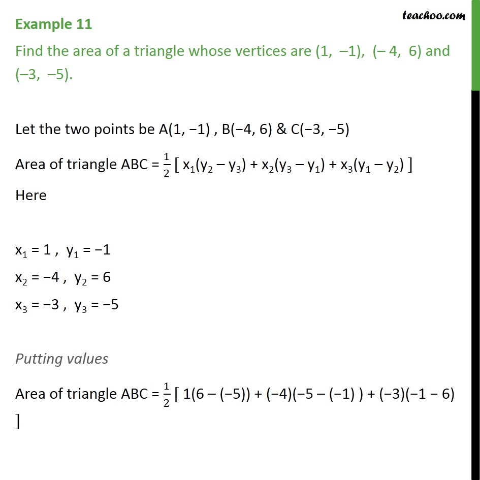Example 11 - Find area of triangle (1, -1), (-4, 6), (-3, -5) - Area of triangle