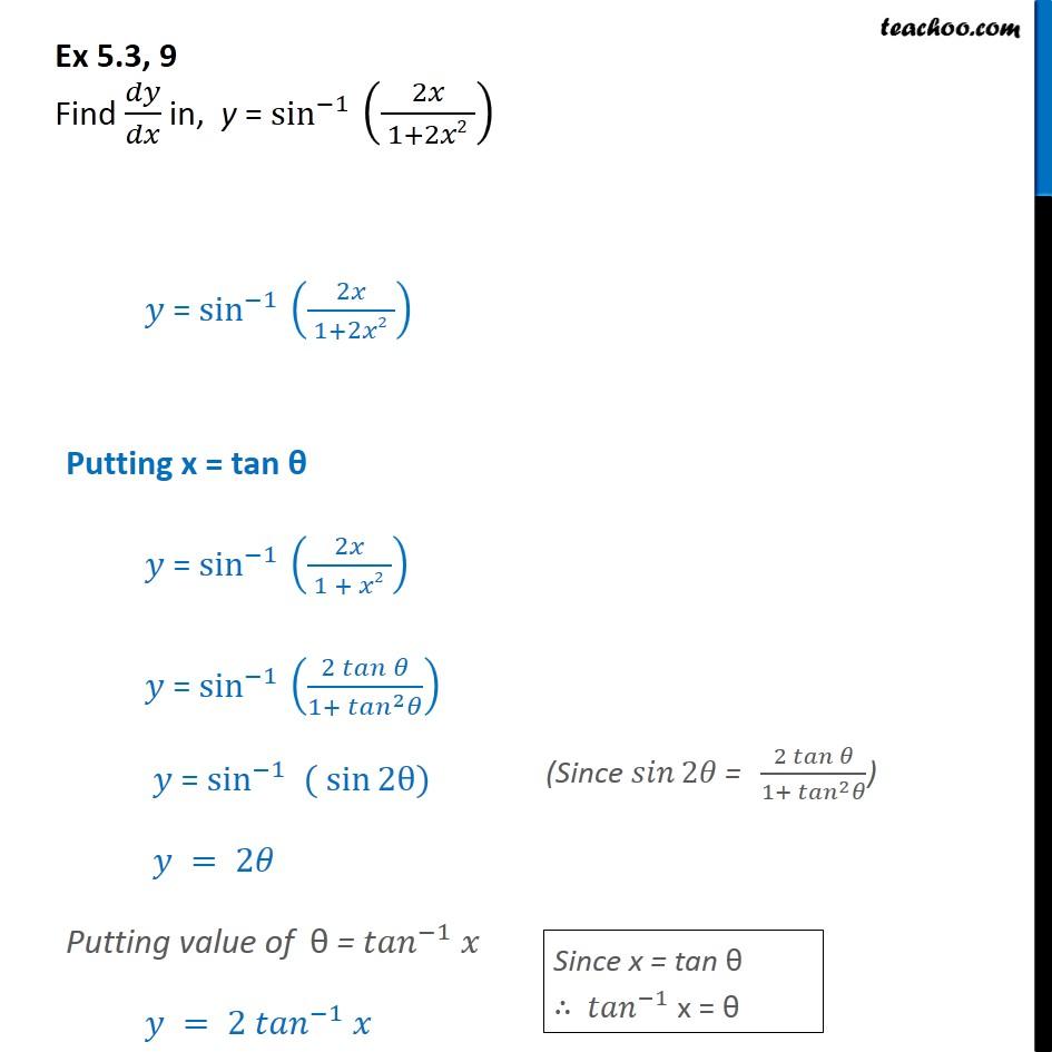 Ex 5.3, 9 - Find dy/dx in y=sin-1 (2x / 1 + 2x2) - Ex 5.3