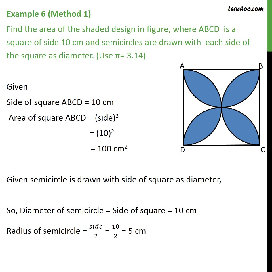 Example 6 - Find area of shaded design, ABCD is a square 10 cm -