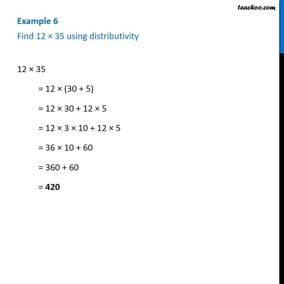 Example 6 - Find 12 x 35 using distributivity - Chapter 2 Class 6