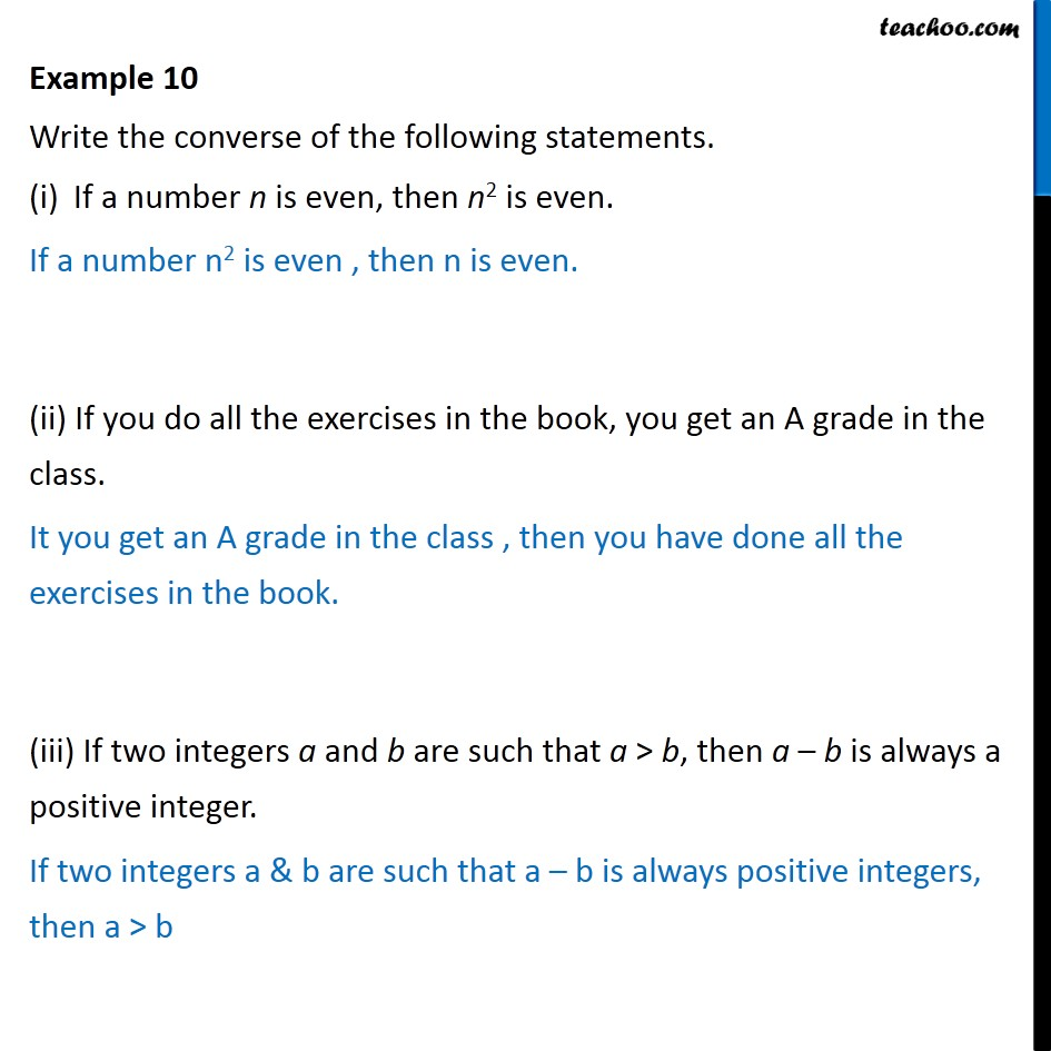 Example 10 - Write converse of (i) If a number n is even - Contrapositive and converse