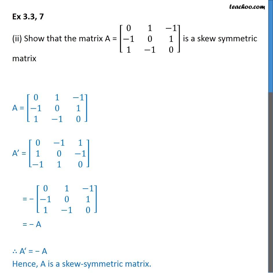 Ex 3.3, 7 - Chapter 3 Class 12 Matrices - Part 2