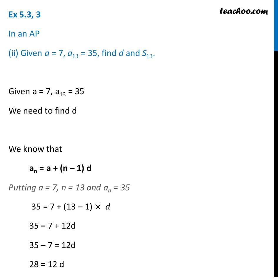 Ex 5.3, 3 - Chapter 5 Class 10 Arithmetic Progressions - Part 3