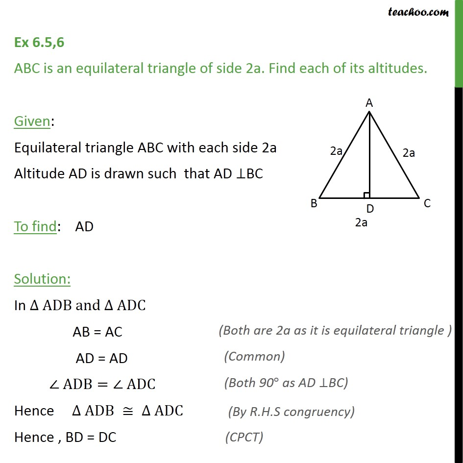 Ex 6.5, 6 - ABC is an equilateral triangle of side 2a. - Pythagoras Theoram - Finding value