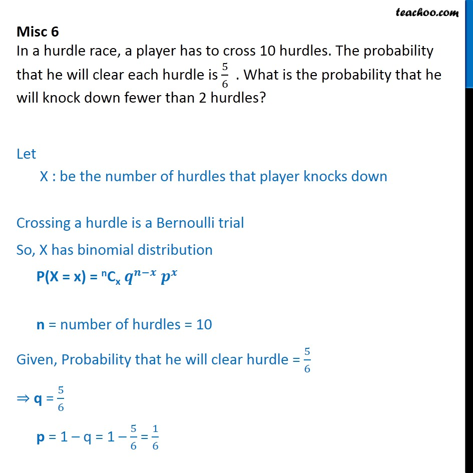 Misc 6 - In a hurdle race, a player has to cross 10 hurdles - Miscellaneous